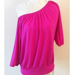 Express Bright Pink Off the Shoulder Top